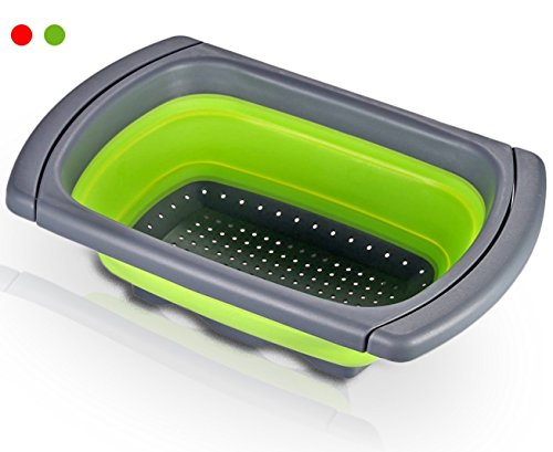 Colador plegable sobre el fregadero Xuanlan Cesta de colador de cocina de silicona con mangos extensibles Ahorro de espacio drenaje rápido base antideslizante caja fuerte para lavavajillas (rectangular) (Verde)