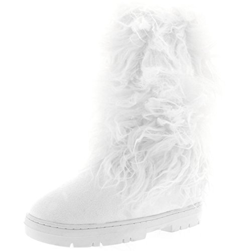 (Holly Damen Long fur Covered Regen Pelz Gefüttert Winter Warm Tall Schnee Stiefel - Weiß - WHI40 AEA0379)