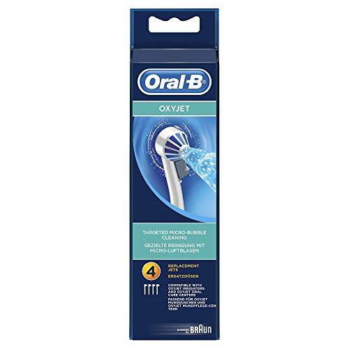 Oral-B OxyJet Aufsteckbürsten (Ersatzdüsen für Mundduschen, Mundspülung, gesunde Zähne, schützt vor Karies, Mundgeruch und Zahnfleischentzündung, powered by Braun) 4 Stück