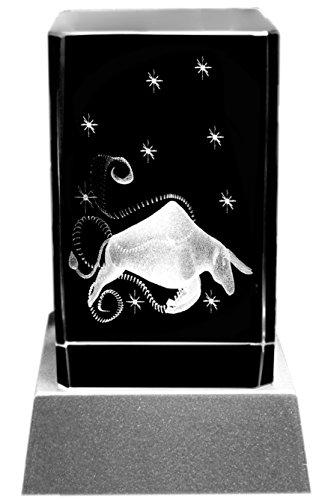 Kaltner Präsente Stimmungslicht - Das perfekte Geschenk: LED Kerze/Kristall Glasblock / 3D-Laser-Gravur Sternzeichen Stier