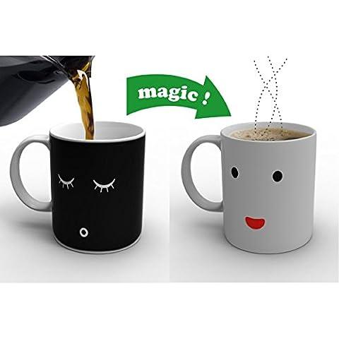 Aliciashouse Mattina tazza di caffè in ceramica volto Smilling colore cambiando tazza Mug