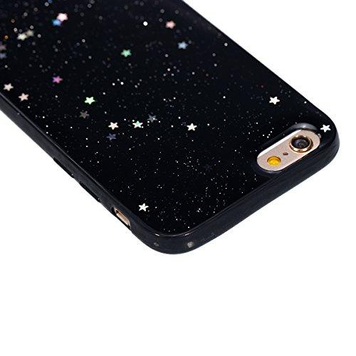 KunyFond Custodia Cristallo Chiaro in Silicone Protettiva Cover per iPhone 6 Plus/6S Plus 5.5,Ultra Slim Trasparente Soft Morbida Gel Cover,Lusso Moda Design Brillantini Bling Glitter Diamanti Belle S nero&stella