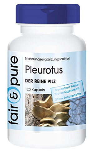 Pleurotus 650mg, polvo de champiñones, vegano, 120 cápsulas y conservantes