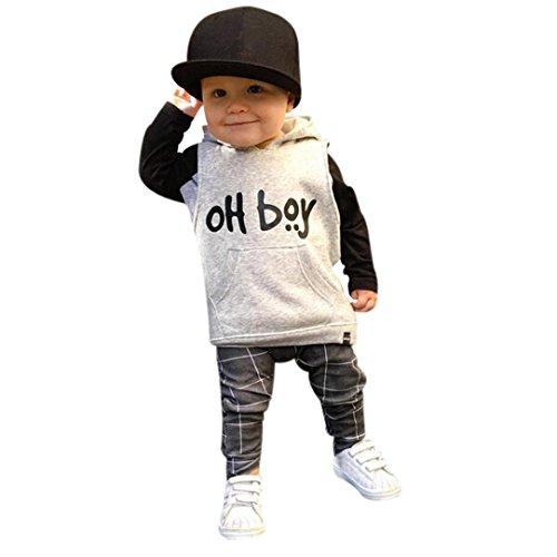 QinMM Kleinkind Mädchen Jungen Kleidung Wurde Mode Kapuzen Tops + Hosen Outfits (Weiß, 12M)