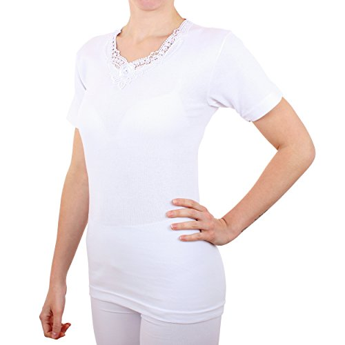 2er Pack Damen Unterhemd mit Spitze Feinripp aus 100% Baumwolle kurzarm (Top, T-Shirt, Oberteil) Nr. 326/516 - 2