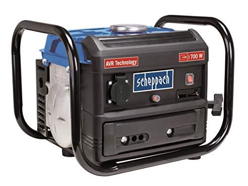 Scheppach Benzin Stromgenerator SG1000 (Stromerzeuger max.700 W,  4 Liter Tank, leicht und kompakt, leichter Transport des Notstromagregats, Gummifüße, Tragegriff, Seilzugstarter)