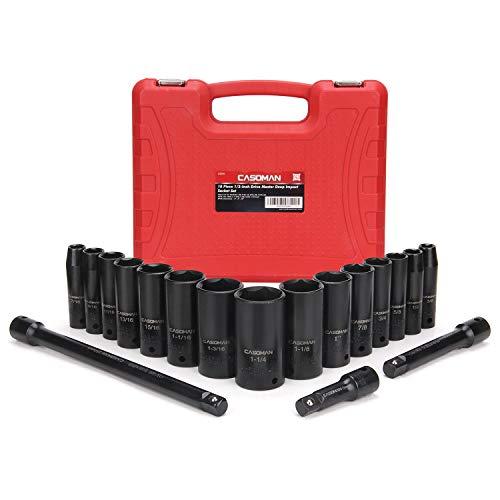 Casoman Steckschlüssel-Set, 1/2-Zoll-Antrieb, 18-teilig, 6-kant, Standard, Zoll, 3/8 Zoll bis 1-1/14 Zoll SAE Stecknuss mit 3 Verlängerungsstangen