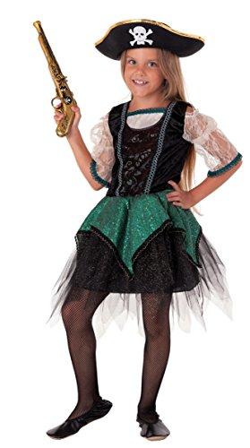 Magicoo Deluxe Piraten Kostüm Kinder Mädchen grün-schwarz Karneval Fasching - Piratin Kostüm Kinder Mädchen (116)