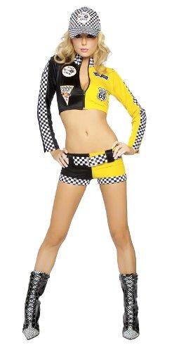Kostüm Racer Für Mädchen Damen Erwachsene - Racer Girl Kostüm mit Top und Hotpants - schwarz/gelb - M/L