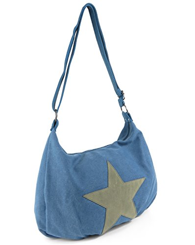 Lovely Lauri Canvas Stern Schultertasche Bag Umhängetasche unifarben Grau Blau
