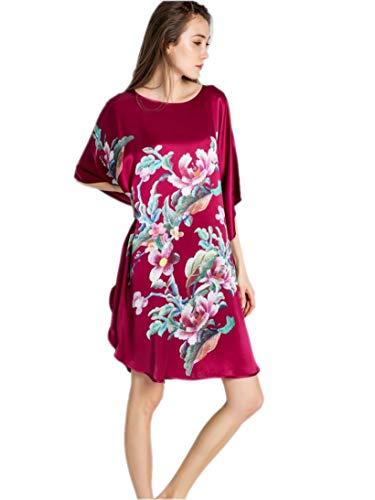 Seide Nachtkleid (prettystern 100% Seide Oversize Kimono Nachthemd Nachtkleid mit Digitaldruck Chinesische Floral Stickerei Druck Ybp171 Rot)