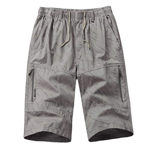 MOTOCO Herren Summer Shorts Lässige 3/4 Cargohose Schnalle Mit Baumwollreißverschluss Gerade Lose Halbe Hose(4XL,Silber) - Oshkosh Cord-overalls