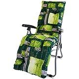 TECNOWEB Ricambio Cuscino per Sdraio con poggiapiedi Super Imbottita col.Fondo Verde Fantasia Zen