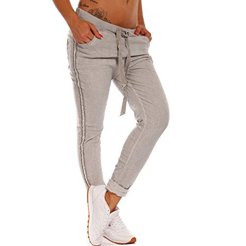 2785ef606609 Made Italy Damen Boyfriend Hose Jogstyle mit Glitzerstreifen Sommerhose  Freizeithose Relax, Farbe Grau,