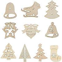 Kesoto 30 Adornos Colgantes de Madera para Árbol de Navidad 21 Piezas de Arranque + 9 Piezas de Diferentes Formas Decoración para el Árbol de Navidad, Ventanas, Puertas