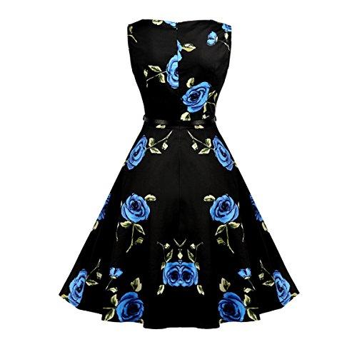 Damen A-Linie 50er Vintage Abendkleid Rockabilly Kleid Knielang Festliches Pin Up Kleid Partykleider Cocktailkleider 01Blue Rose