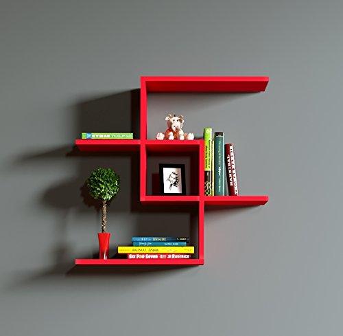 Homidea chain mensola da muro–rosso–mensola parete–mensola libreria–scaffale pensile per studio/soggiorno in un design moderno.