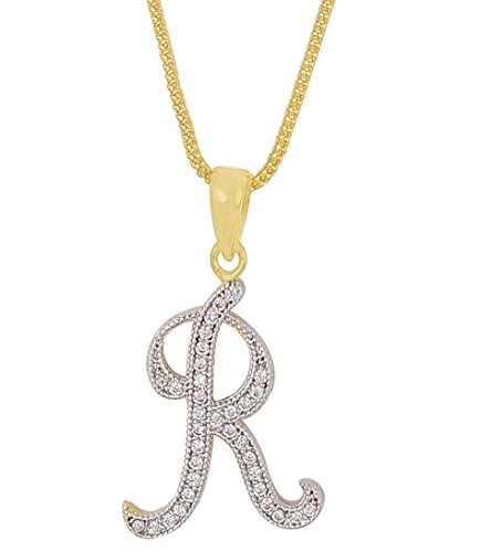 MUCH MORE Unique American Diamond Initial Letter R alphabet pendant for men and women