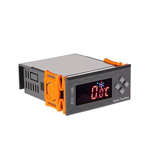 KKmoon-Allzweck-Hohe-Genauigkeit-AC110-240V-LED-Digital-Temperaturregler-Thermostat-2-Relais-mit-NTC-Sensor---Temperaturalarm