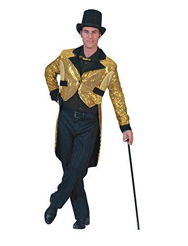 Kostüm Paillettenfrack Leon gold Größe 52/54 Herren Show Silvester Frack Showfrack Zirkus Karneval Fasching (Kostüme Männer Vintage Für Zirkus)