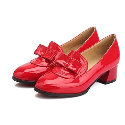 VogueZone009 Damen Mittler Absatz Rein Ziehen Auf Lackleder Quadratisch Zehe Pumps Schuhe Rot