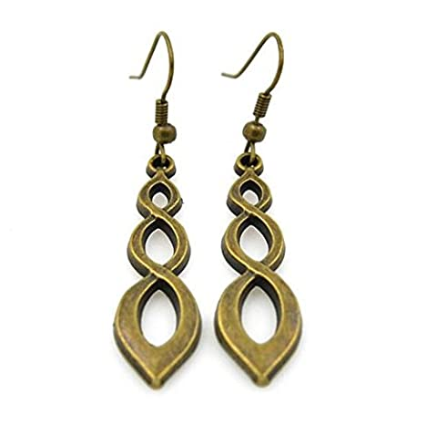 Minifamily® Vintage Circle Spinal Hollow Bronze Copper Drop Earrings(1 Pair) Come With Free Unique Ring and Rubber Wrist
