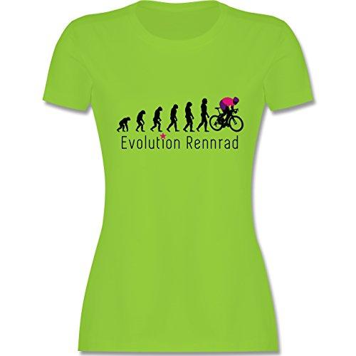 Radsport - Rennrad Evolution - tailliertes Premium T-Shirt mit Rundhalsausschnitt für Damen Hellgrün