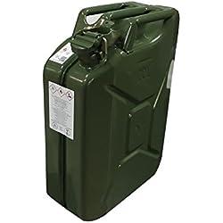 Jerrican métal vert 20litres homologuée Jo/TUV transport liquides Essence Eau Carburant