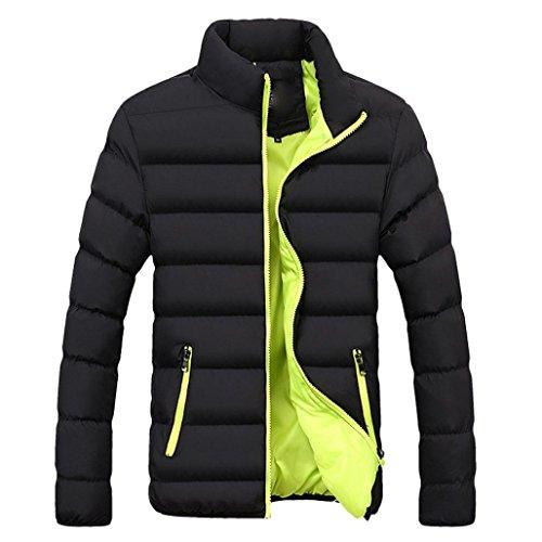 Hansee Männer Winter Warme Slim Fit Dicke Blase Mantel Lässig Langarm Jacke Parka Oberbekleidung Gesteppte Baumwolle Gepolsterte Daune (L, Grün)