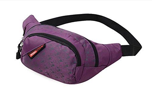 Slim Wasser Widerstand Sportliche Travel Taille Tasche Violett - violett