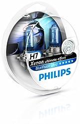 Philips BlueVision ultra Xenon-Effekt 12972BVUSM Scheinwerferlampe, H7, 2er-Set