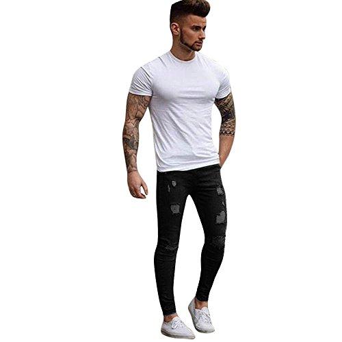 Poachers jeans da uomo skinny strappati elasticizzati da uomo pantaloni da denim slim fit con zip nastrati (nero, xl)