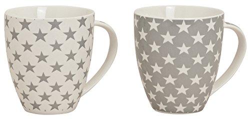 XXL Jumbo Tassen 2er Set, 600 ml, Sterne, Kaffeetassen, Henkelbecher, Henkeltassen aus Porzellan weiß/grau Sterne XXL -