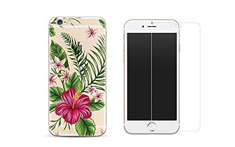 NOVAGO Combo 1 Verre trempé + 1 coque gel imprimée fantaisie et solide pour iPhone 6 et 6S - Fleur bouquet exotique