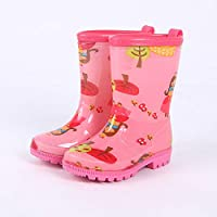 LYXFZW,Rain Boots For Kids,girls,Rubber Wellington Boots Soft Cute Watershoes Waterproof Non-Slip Children Boys Easy Wipe Outdoor Pink Girl Apple Unisex For School Garden Fashion Cartoon