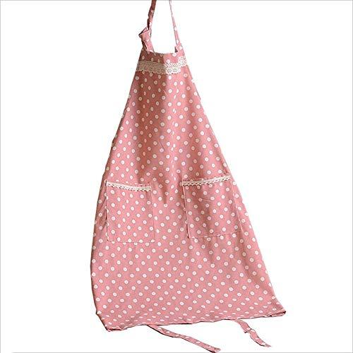 Grembiuli grembiule bavaglino cucina grembiuli chef per cucinare cottura giardinaggio regolabile con 2 tasche cintura cotone e lino regolabili haiming (colore : pink-big dots)