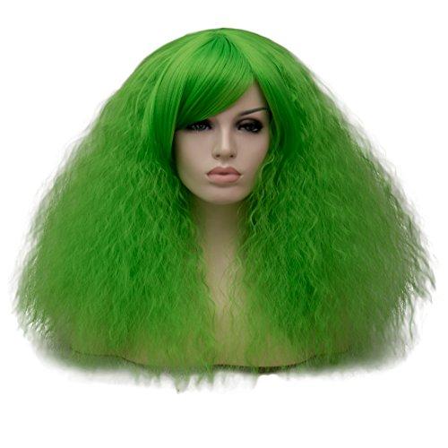 (EDAY kurze lockige flauschige Perücken für schwarze Frauen grüne Cosplay Kostüm Perücke mit Pony synthetische hitzebeständige Faser Haar Perücke für Halloween Party)