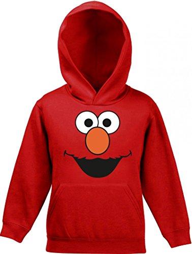 Fasching Karneval Verkleidung Kinder Kids Kapuzen Hoodie - Pullover mit Red Monster Motiv, Größe: 128,Rot