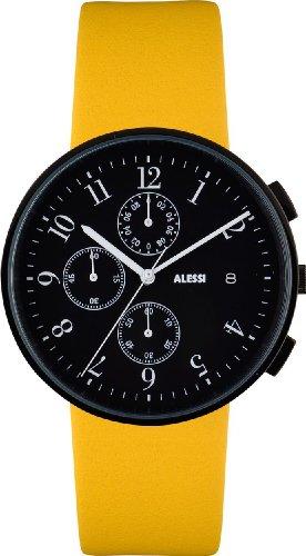 Alessi AL6400 - Orologio da polso uomo, pelle, colore: giallo