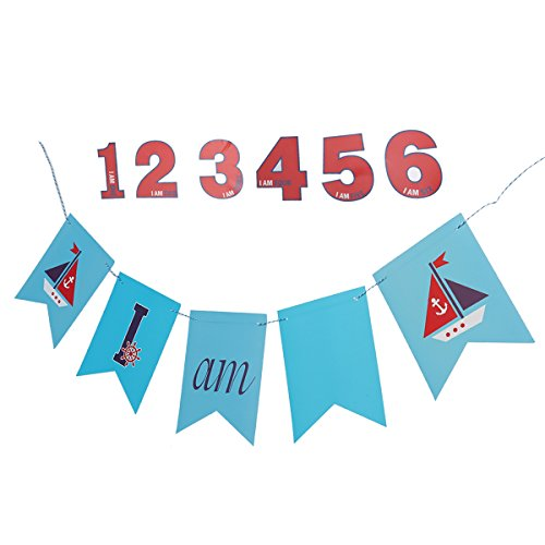 BESTOYARD 1.5M Ahoi Nautische Birthday Party Supplies Segelboot Geburtstag Banner Hänge Garland Dekoration für Baby Shower Birthday Party Gefallen (Nautische Geburtstag Party Supplies)