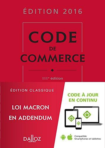 Code de commerce 2016 - 111e d.
