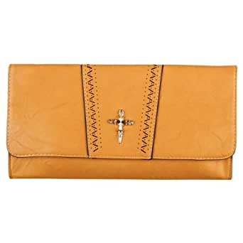 Womens Mustard Yellow Faux Leather Cut Out Ladies Metallic Cross Evening Clutch Handbag Bag