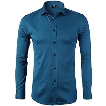 Camicia Elastica di bambù Fibra per Uomo, Slim Fit, Manica Lunga Casual/Formale, Blu, XS