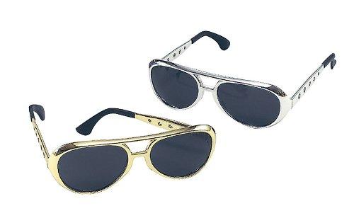 Silber Brille Elvis (Fels und Rollt Brille. Elvis Stil. Färben Sie)