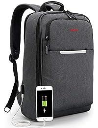 Norsens Sac à Dos PC Antivol/Pratique/Scolaire Sac à Dos Ordinateur Portable d'affaires avec USB - Gris Foncé