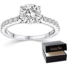 Verlobungsring Ring Damen Silber 925 von AMOONIC Zirkonia Stein mit GRAVUR /& ETUI-BOX Silberring Frau Verlobungsringe Damenring rhodiniert Echt Schmuck Antragsring AM195 SS925ZIFA