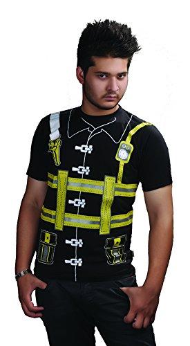neuesten Erwachsene Herren bedruckt T-Shirts Uniform Kostüm Hen Night Junggesellen Party Fancy Kleid Vielzahl von Designs (Große, Fire (Kostüme Fighter Fire Erwachsene)