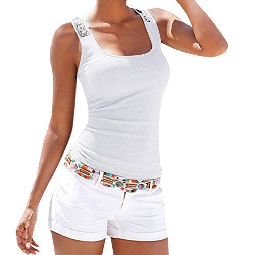 OverDose Damen Sommer Frauen Plus Größe Ärmellose Pailletten Weste Tops Casual Bluse T-Shirt Freizeit Oberteile Tees Camisole(Weiß,XXL) -