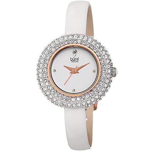 Burgi Femme Bur195wt Cristal Swarovski et Accentuée de diamant Or rose et blanc Bracelet cuir montre
