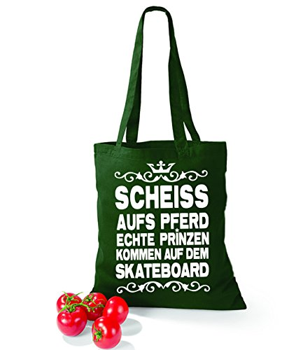Artdiktat Baumwolltasche Scheiß auf´s Pferd - Echte Prinzen kommen auf dem Skateboard yellow bottlegreen